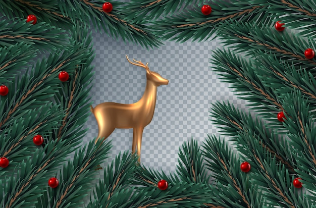 Рождественский венок из реалистичных еловых веток и ягод падуба Premium векторы