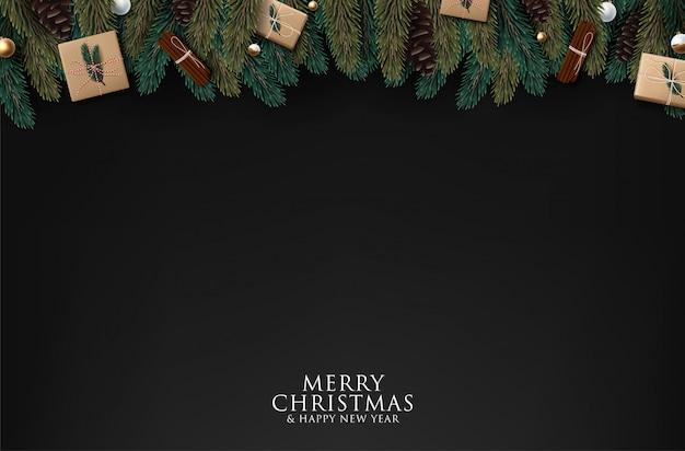黒の背景にクリスマスツリーの枝、 Premiumベクター