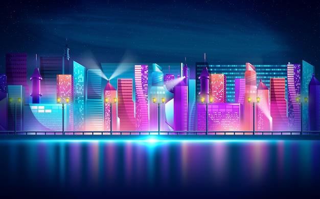 Футуристический ночной город. городской пейзаж на темном фоне с яркими и светящимися неоновыми фиолетовыми и синими огнями Premium векторы