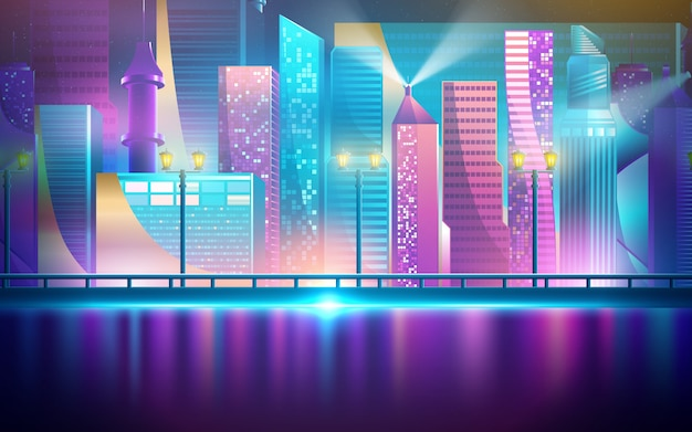 未来の夜の街。明るく輝くネオンの紫と青のライトで暗い背景に都市の景観 Premiumベクター