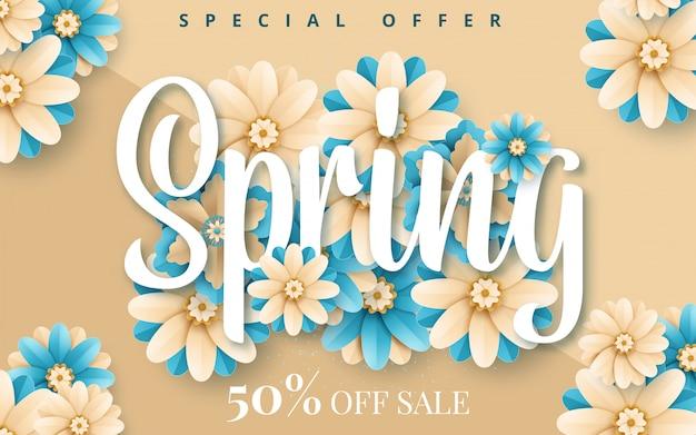 オンラインショッピング、広告アクション、雑誌、ウェブサイトのための紙の花と春のバナー Premiumベクター