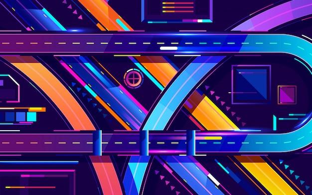 Мегаполис ночной автострады неоновых цветов, вид сверху мультфильм вектор Premium векторы