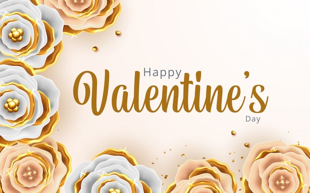 花の背景とバレンタインの日グリーティングカード Premiumベクター