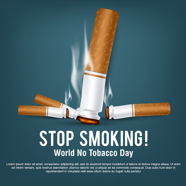 世界のためのポスターまたはバナーなしのタバコの日 Premiumベクター