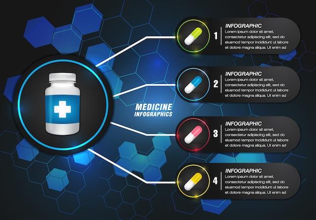 ブルーの形をしたモダンなデザインの医学情報グラフィック Premiumベクター