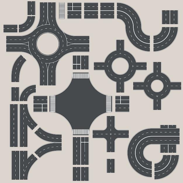Коллекция дорожных элементов для создания дорожной карты Premium векторы