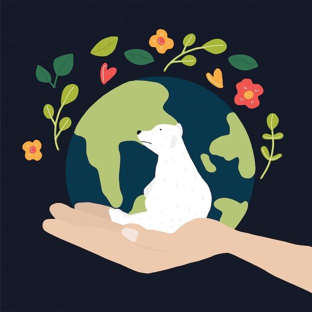 世界と白いクマを救う Premiumベクター