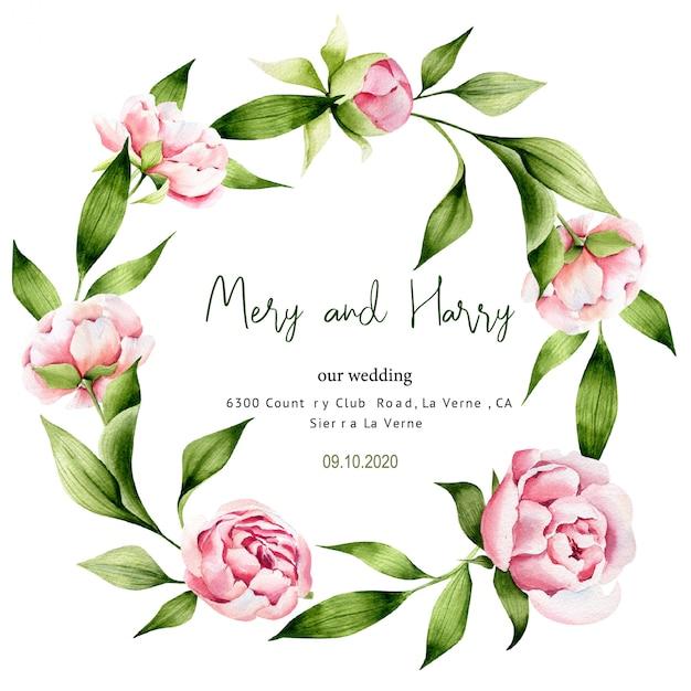 緑の葉と牡丹の結婚式のテンプレート、日付を保存、春 Premiumベクター