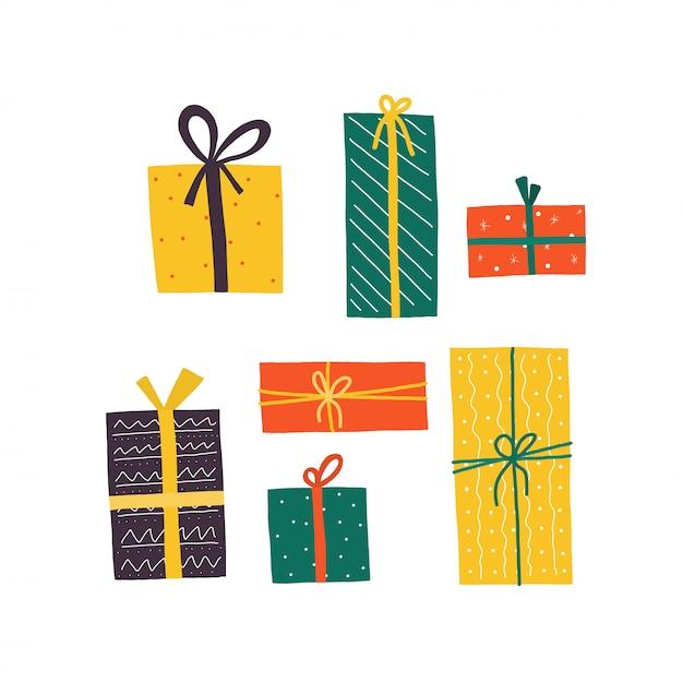 誕生日ギフトボックス、あらゆる目的に最適なデザイン。オープンギフトボックスベクトルイラスト。メリークリスマスの休日。カラフルなリボン。 Premiumベクター