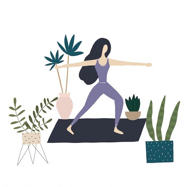ヨガの女の子と家の植物 Premiumベクター