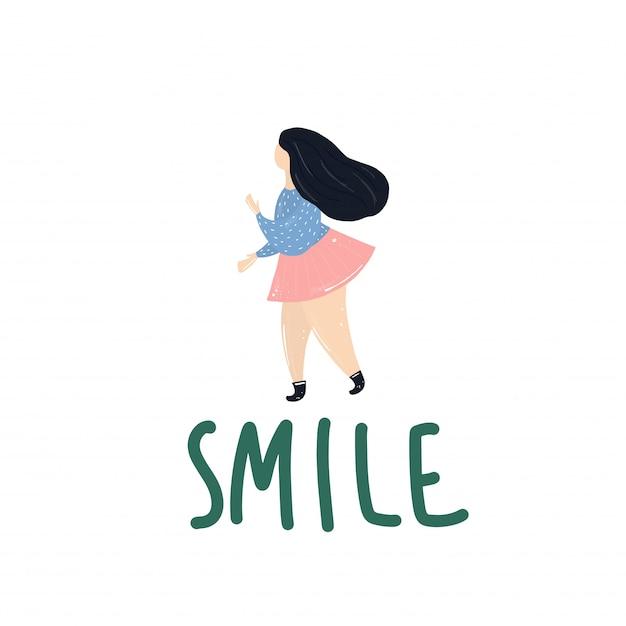 太りすぎの女の子の笑顔 Premiumベクター