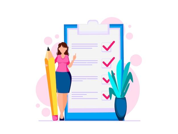Женщина планирует месяц, чтобы сделать список Premium векторы