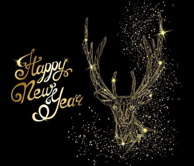 鹿の頭と幸せな新年のグリーティングカード Premiumベクター