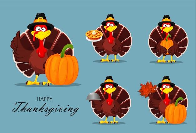 感謝祭の七面鳥。幸せな感謝祭 Premiumベクター