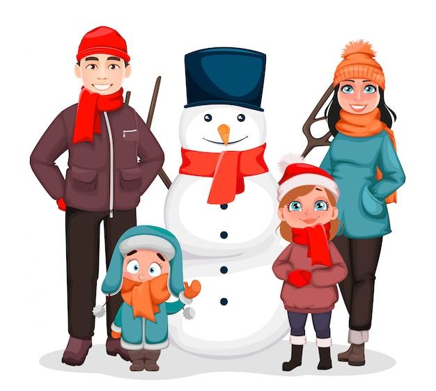 クリスマスに幸せな家族。 Premiumベクター