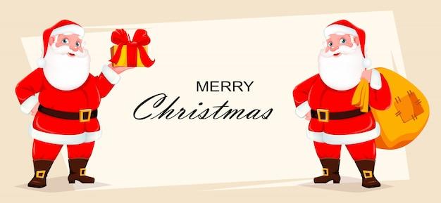 Веселая рождественская открытка с дедом морозом Premium векторы