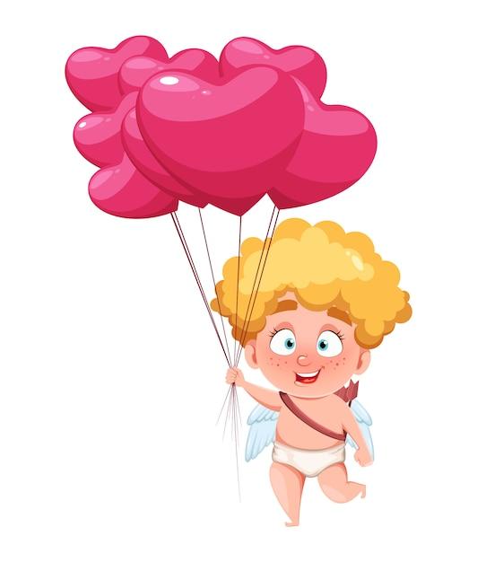 幸せなバレンタインデー。面白いキューピッドキッド Premiumベクター