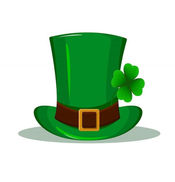 パトリックの帽子。四つ葉のクローバーと緑の帽子 Premiumベクター