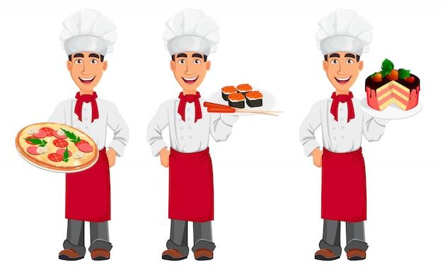 Молодой профессиональный шеф-повар в форме и готовить шляпу Premium векторы