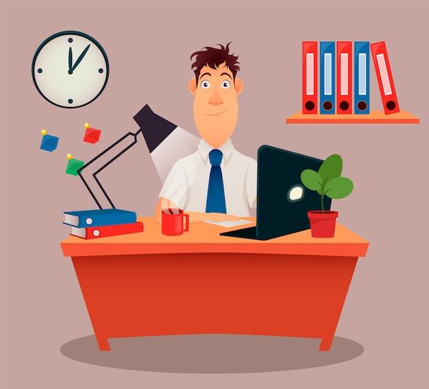 ビジネスマン、テーブルに座って、ノートパソコンでの作業 Premiumベクター