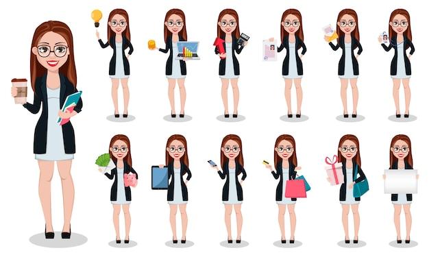 Бизнес женщина мультипликационный персонаж Premium векторы