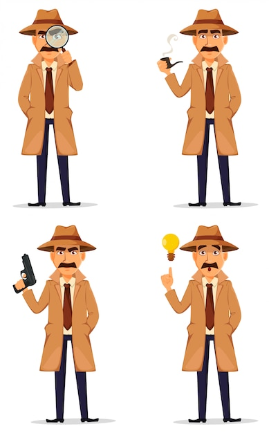 帽子とコートの探偵 Premiumベクター
