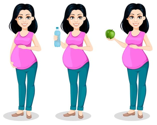妊婦。女性は母親になる準備をする Premiumベクター