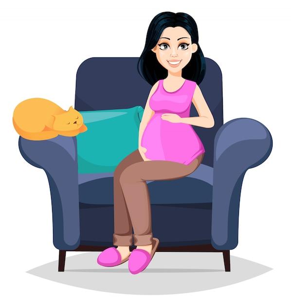 美しい女性は母親になる準備をしています。 Premiumベクター