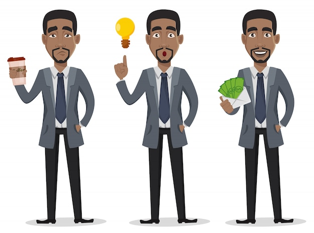 アフリカ系アメリカ人のビジネスマン Premiumベクター