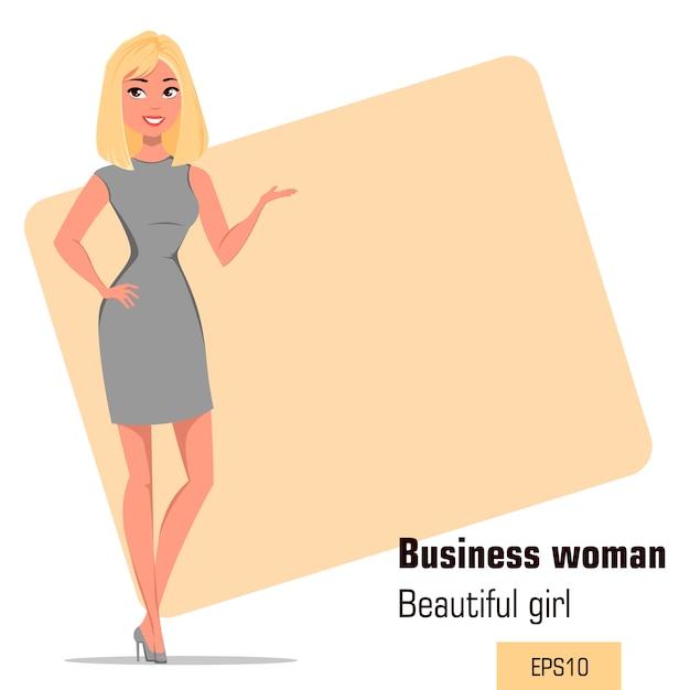 厳格な灰色のドレスを着ている若い漫画実業家 Premiumベクター