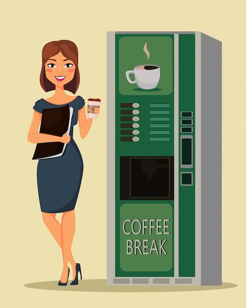 ビジネスの女性がコーヒーを飲む Premiumベクター