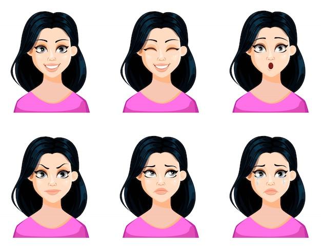 黒髪の美しい女性の表情 Premiumベクター