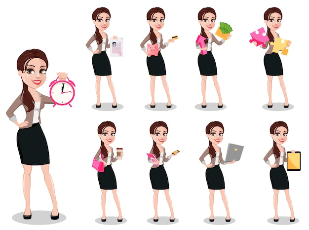 Деловая женщина в повседневной одежде Premium векторы