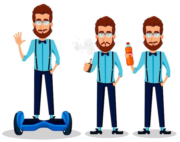 Бородатый хипстерский человек в очках Premium векторы