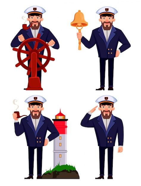 プロの制服を着た船の船長 Premiumベクター