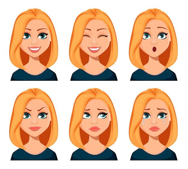女性の表情 Premiumベクター
