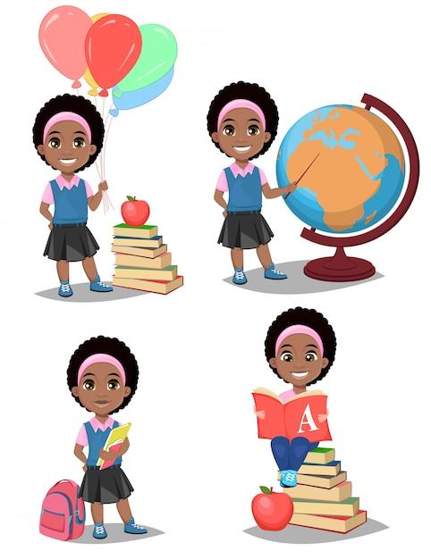 学校に戻る。かわいいアフリカ系アメリカ人の女の子 Premiumベクター