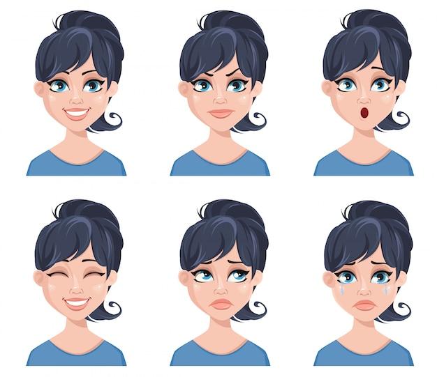 美しい女性の表情 Premiumベクター