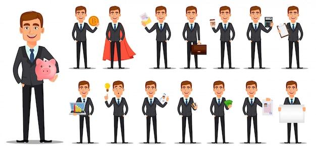 Красивый банкир в деловом костюме Premium векторы