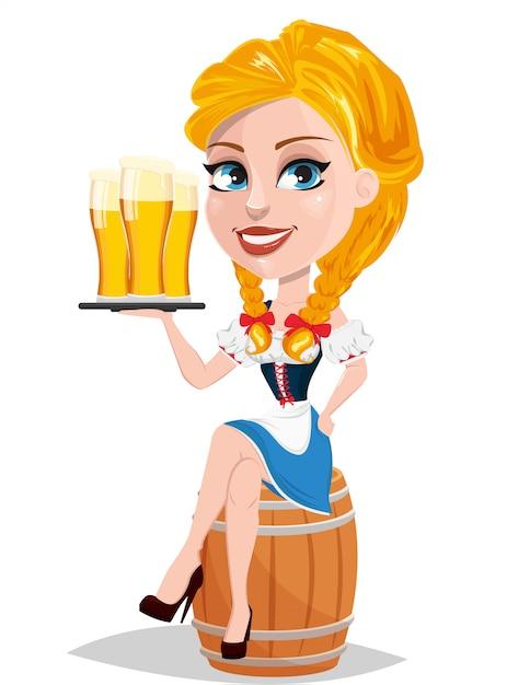 オクトーバーフェスト。赤毛の女の子持株ビール Premiumベクター