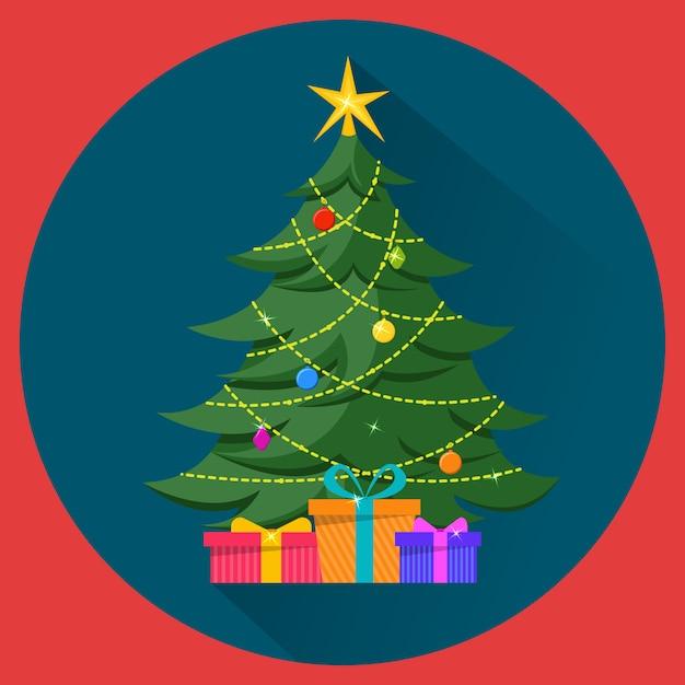 装飾とプレゼントのクリスマスツリー Premiumベクター