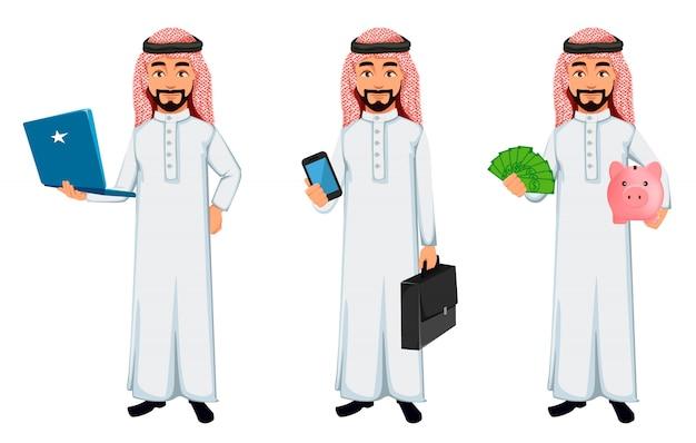 現代アラブビジネス男漫画のキャラクター Premiumベクター