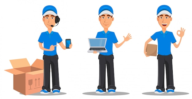 青い制服を着た笑顔配達人のセット Premiumベクター