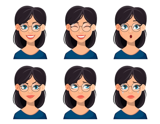 Выражения лица красивой женщины в очках Premium векторы