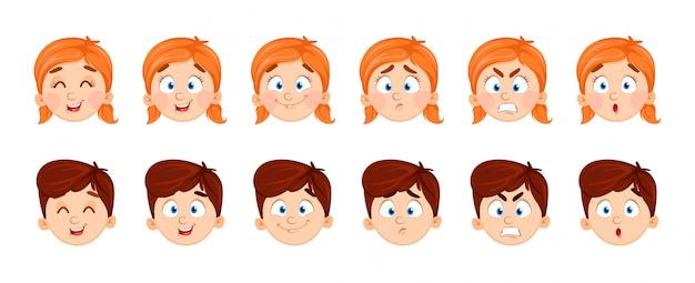 Выражения лица мальчика и девочки Premium векторы