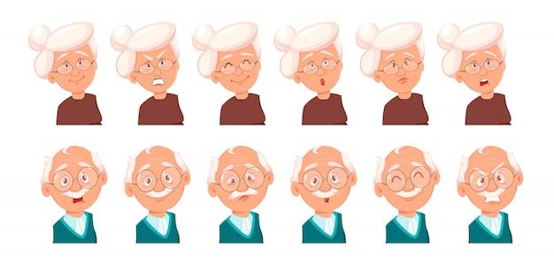 Выражения лица дедушки и бабушки Premium векторы