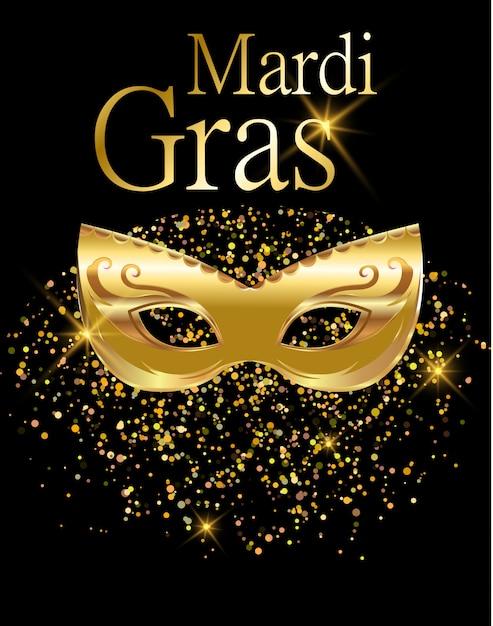 マルディグラの黄金のカーニバルマスク Premiumベクター
