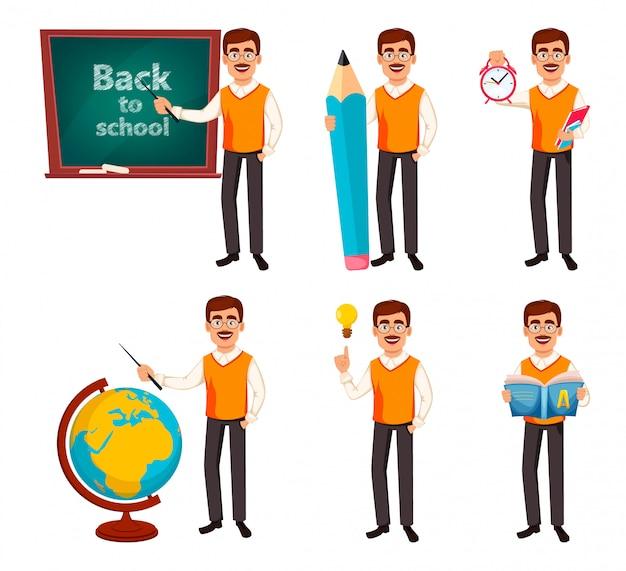 Обратно в школу. учитель человек мультипликационный персонаж Premium векторы