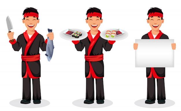 Японский повар готовит суши роллы Premium векторы