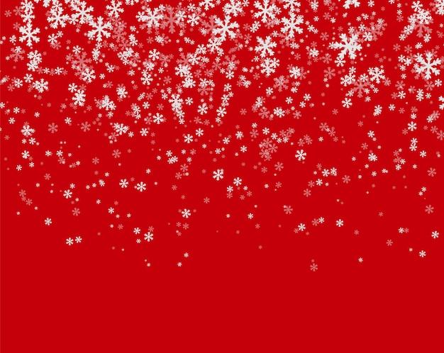赤の背景に降雪 Premiumベクター
